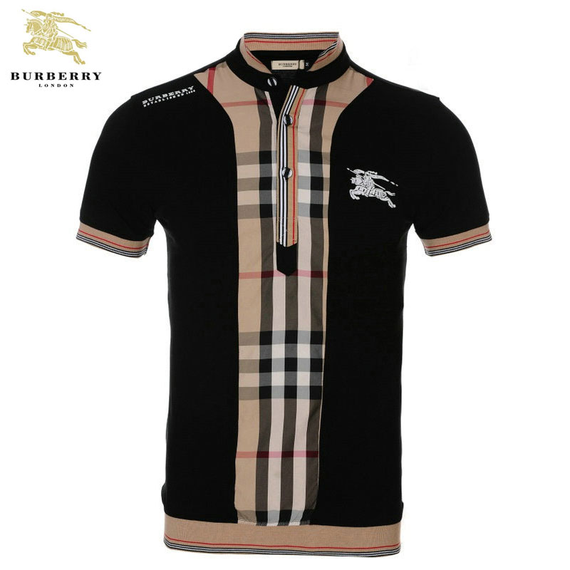 t shirts burberry col montant manches courtes homme pas. Black Bedroom Furniture Sets. Home Design Ideas