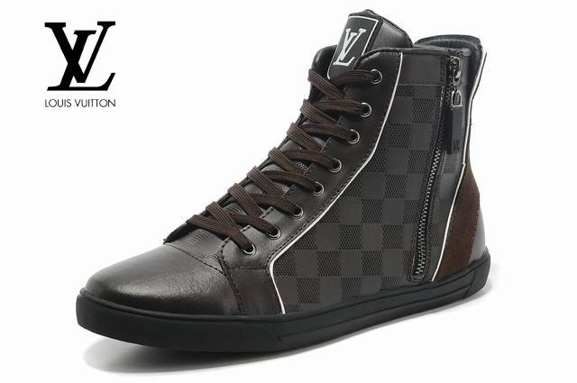 chaussures louis vuitton baskets montantes ronde marron. Black Bedroom Furniture Sets. Home Design Ideas